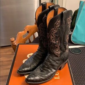 Lucchese '1883' Black Full Quill Ostrich 8C